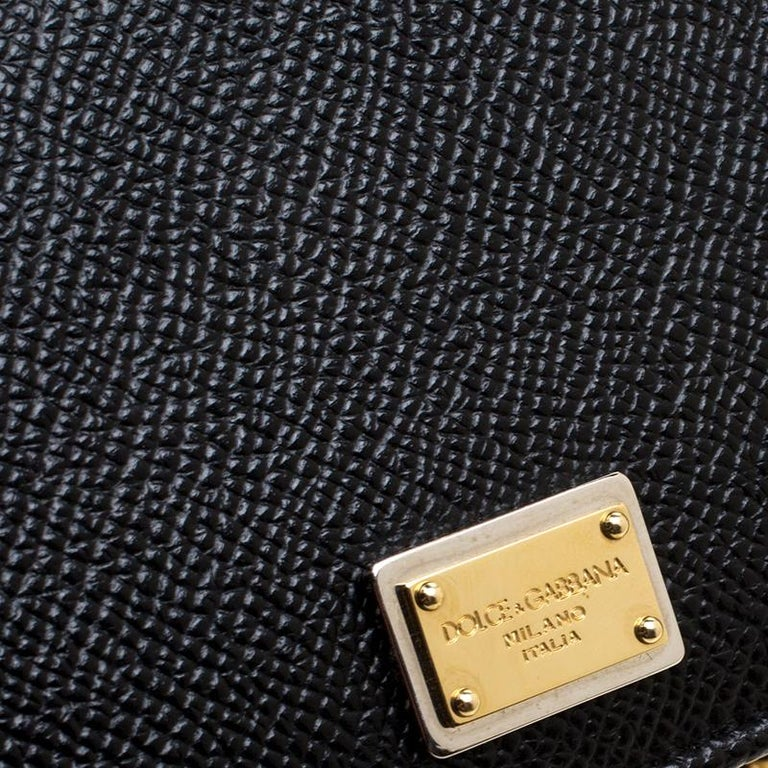 Dolce and Gabbana Black Leather Disco Clutch For Sale 4