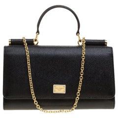 Dolce and Gabbana Black Leather Disco Clutch