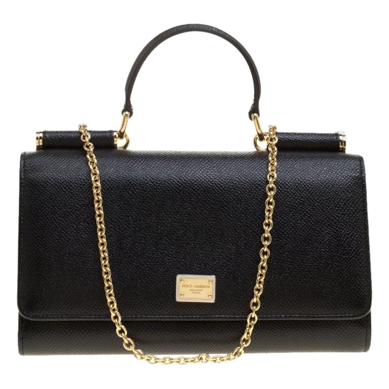 Dolce and Gabbana Black Leather Disco Clutch For Sale