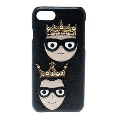 Dolce and Gabbana Black Leather Embellished Crown Face Patch iPhone 7 Case
