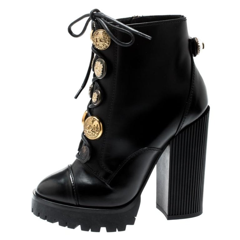 Dolce and Gabbana Black Leather Gold Embossed Button Combat Boots Size 37.5 For Sale 1