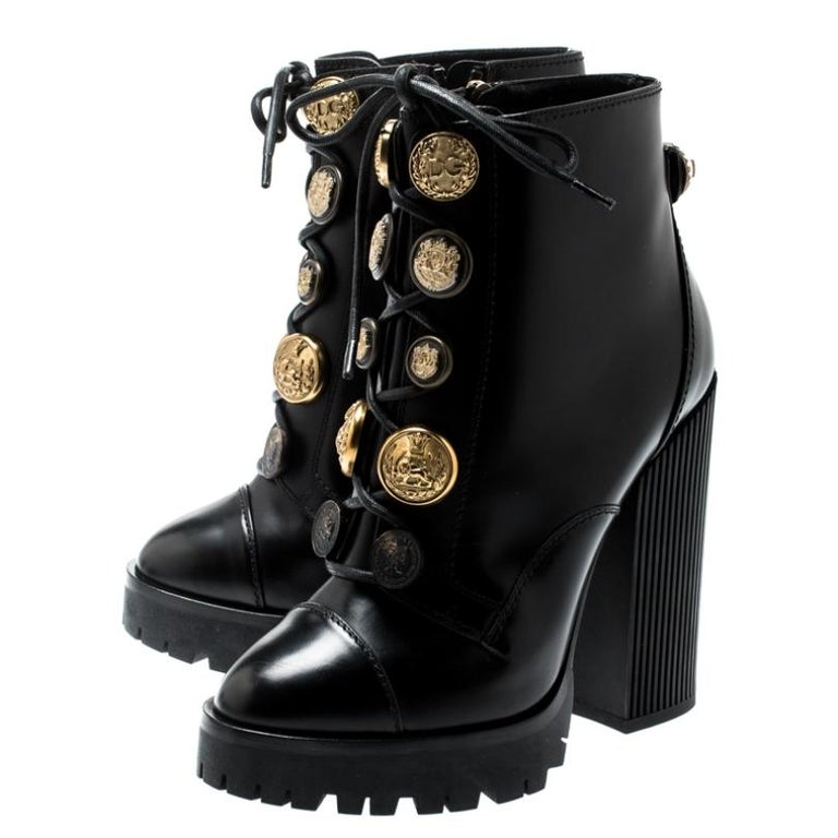 Dolce and Gabbana Black Leather Gold Embossed Button Combat Boots Size 37.5 For Sale 3