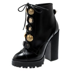 Dolce and Gabbana Black Leather Gold Embossed Button Combat Boots Size 37.5