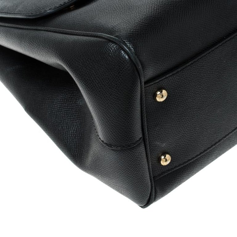 Dolce and Gabbana Black Leather Large Miss Sicily Top Handle Bag For Sale 6