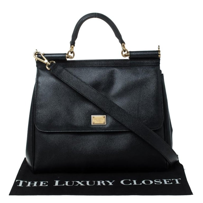 Dolce and Gabbana Black Leather Large Miss Sicily Top Handle Bag For Sale 7