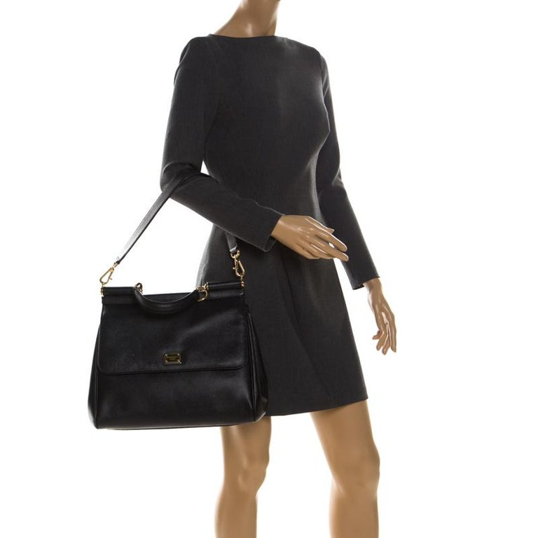 Dolce and Gabbana Black Leather Large Miss Sicily Top Handle Bag In Good Condition For Sale In Dubai, Al Qouz 2