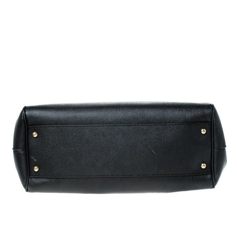 Dolce and Gabbana Black Leather Large Miss Sicily Top Handle Bag For Sale 1