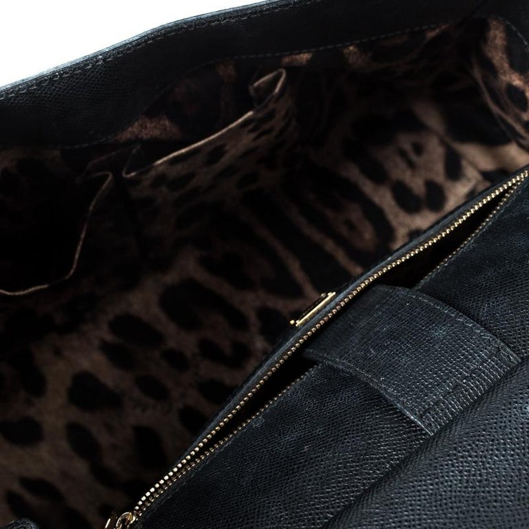 Dolce and Gabbana Black Leather Large Miss Sicily Top Handle Bag For Sale 2