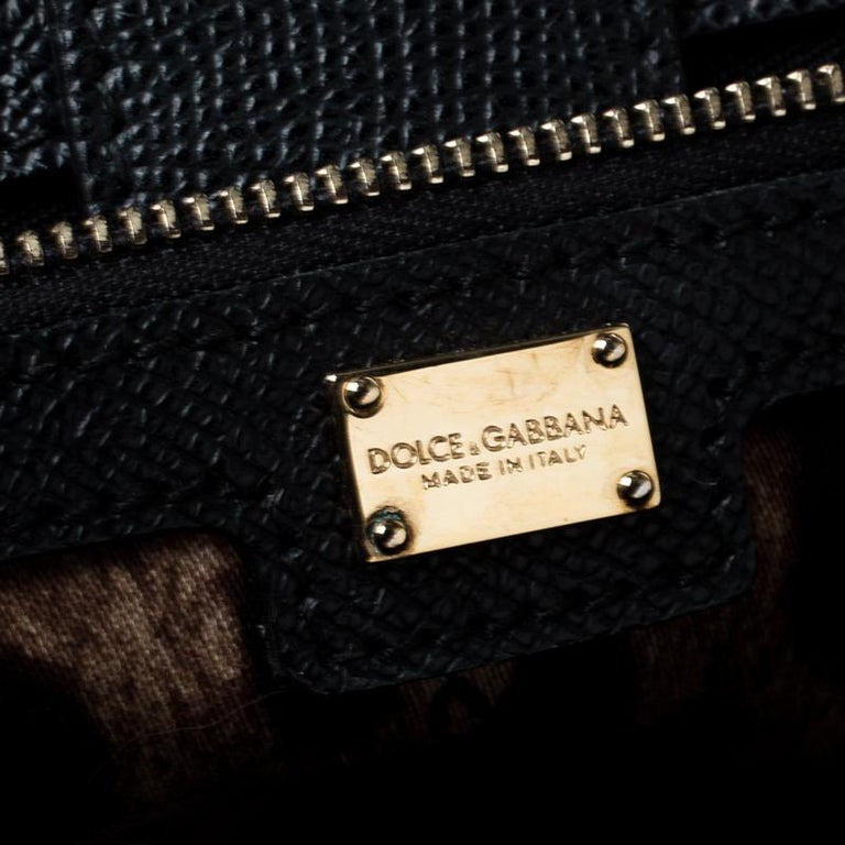 Dolce and Gabbana Black Leather Large Miss Sicily Top Handle Bag For Sale 3