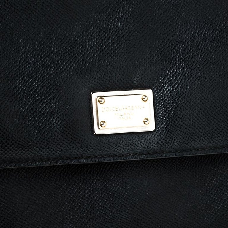 Dolce and Gabbana Black Leather Large Miss Sicily Top Handle Bag For Sale 4