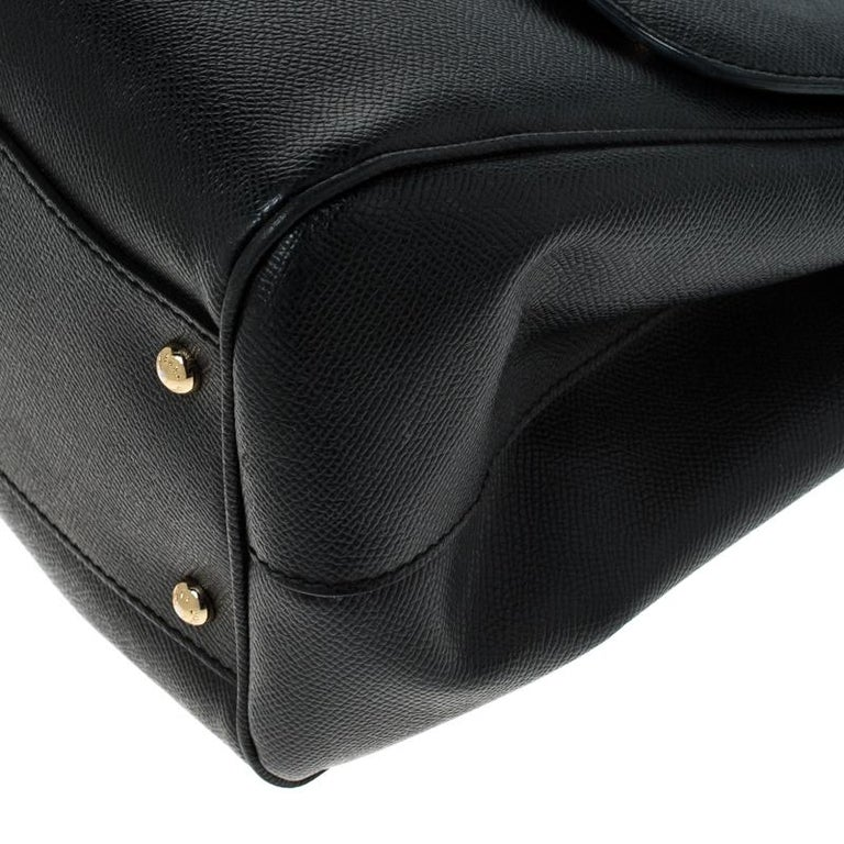 Dolce and Gabbana Black Leather Large Miss Sicily Top Handle Bag For Sale 5