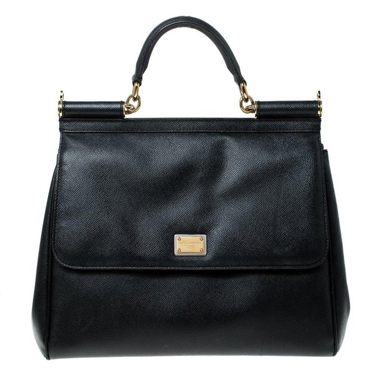 Dolce and Gabbana Black Leather Large Miss Sicily Top Handle Bag For Sale