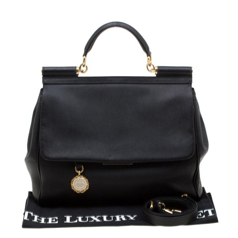 Dolce and Gabbana Black Leather Large Miss Sicily Tote For Sale 7