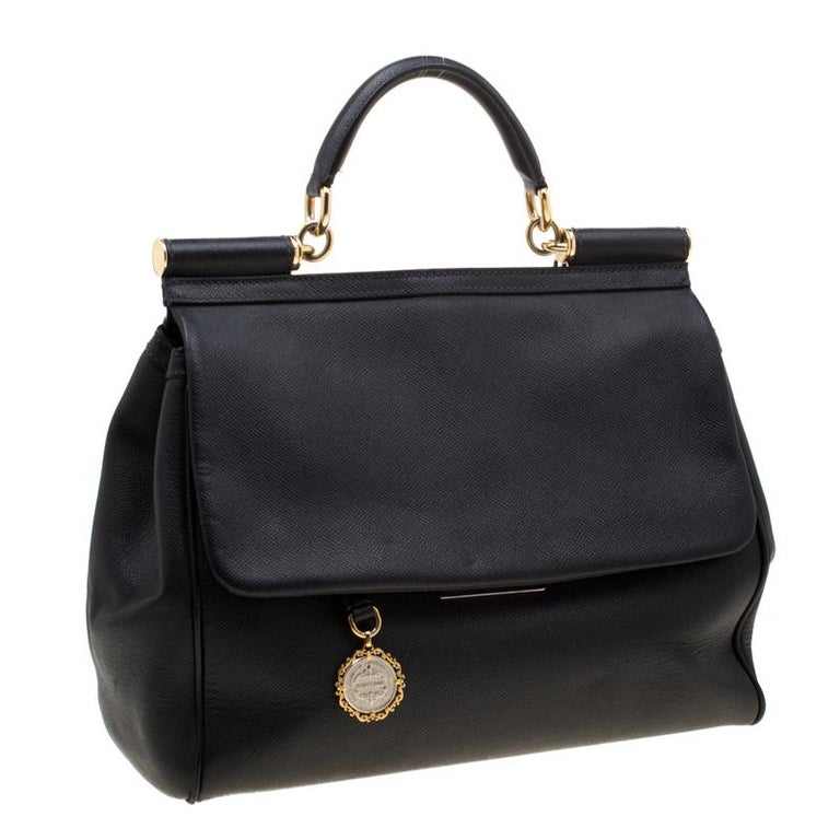 Women's Dolce and Gabbana Black Leather Large Miss Sicily Tote For Sale
