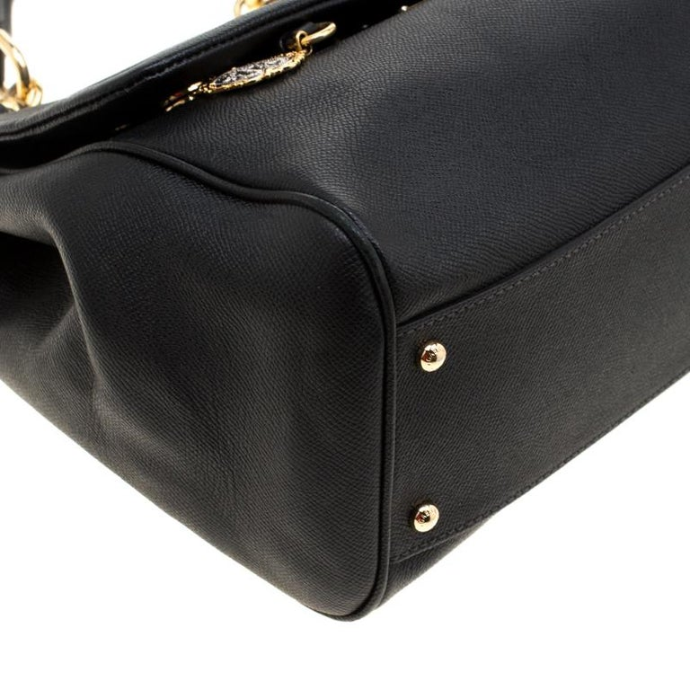 Dolce and Gabbana Black Leather Large Miss Sicily Tote For Sale 2