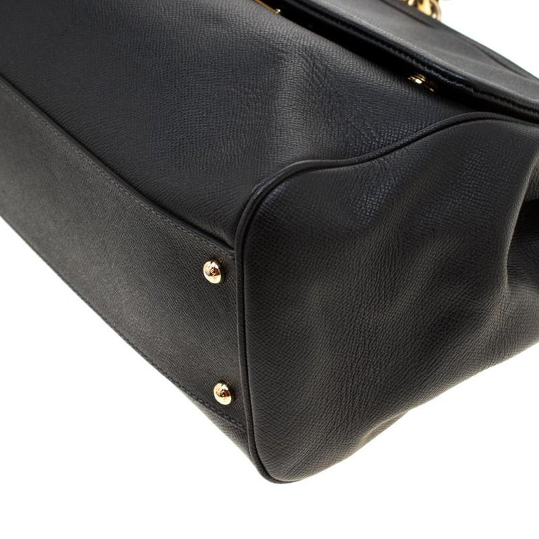 Dolce and Gabbana Black Leather Large Miss Sicily Tote For Sale 3
