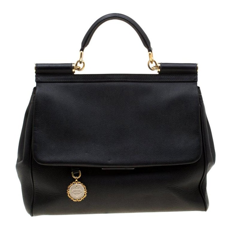 Dolce and Gabbana Black Leather Large Miss Sicily Tote For Sale