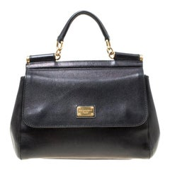 Dolce and Gabbana Black Leather Medium Miss Sicily Top Handle Bag