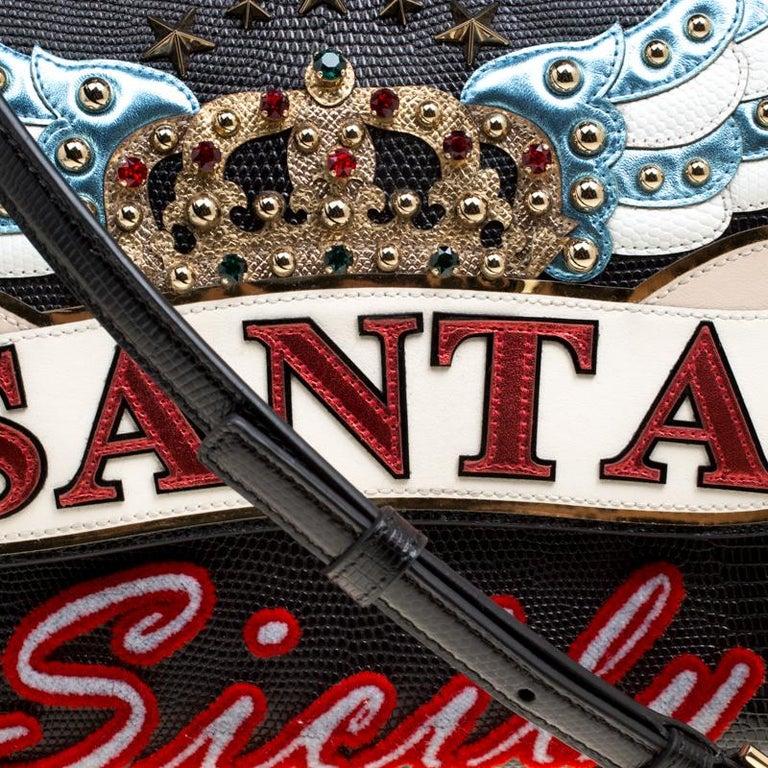 Dolce and Gabbana Black Leather Medium Sicily Santa Top Handle Bag For Sale 6