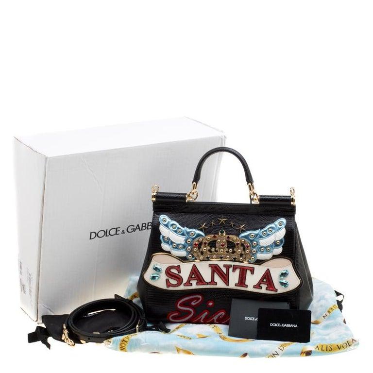 Dolce and Gabbana Black Leather Medium Sicily Santa Top Handle Bag For Sale 7