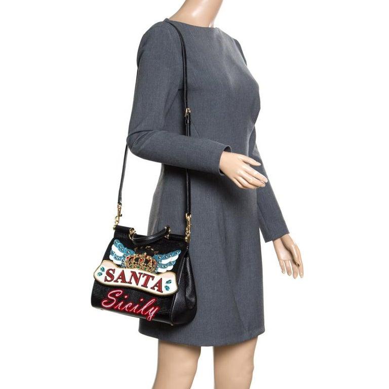 Dolce and Gabbana Black Leather Medium Sicily Santa Top Handle Bag In New Condition For Sale In Dubai, Al Qouz 2