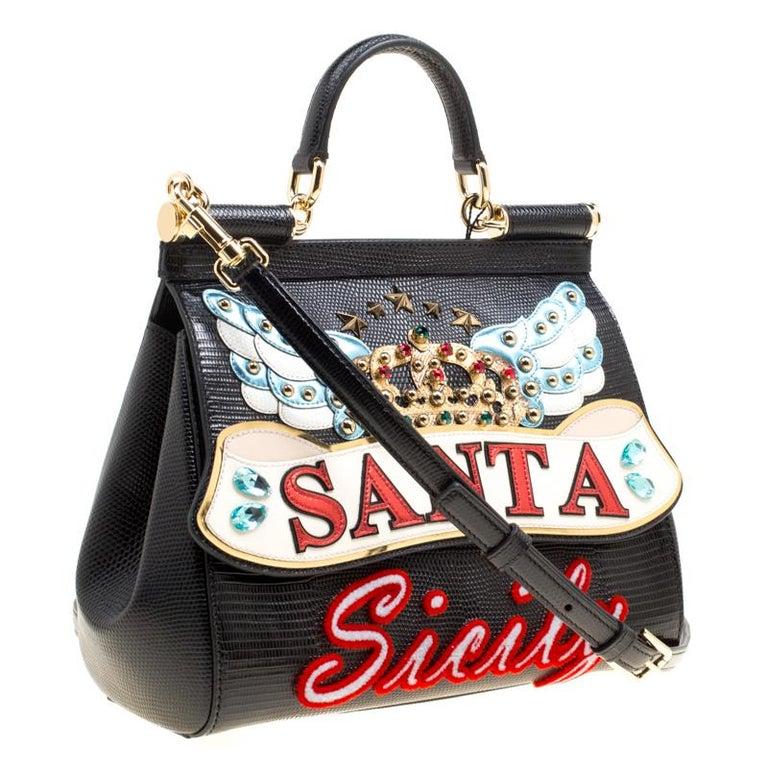 Women's Dolce and Gabbana Black Leather Medium Sicily Santa Top Handle Bag For Sale