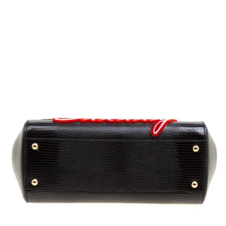 Dolce and Gabbana Black Leather Medium Sicily Santa Top Handle Bag For Sale 1