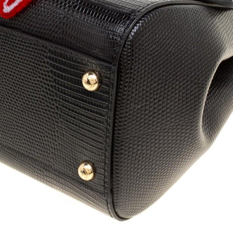 Dolce and Gabbana Black Leather Medium Sicily Santa Top Handle Bag For Sale 4