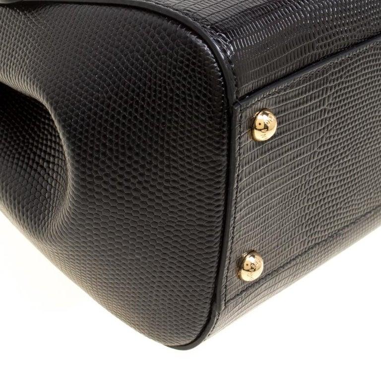 Dolce and Gabbana Black Leather Medium Sicily Santa Top Handle Bag For Sale 5