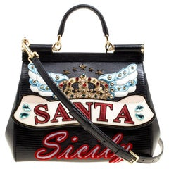Dolce and Gabbana Black Leather Medium Sicily Santa Top Handle Bag