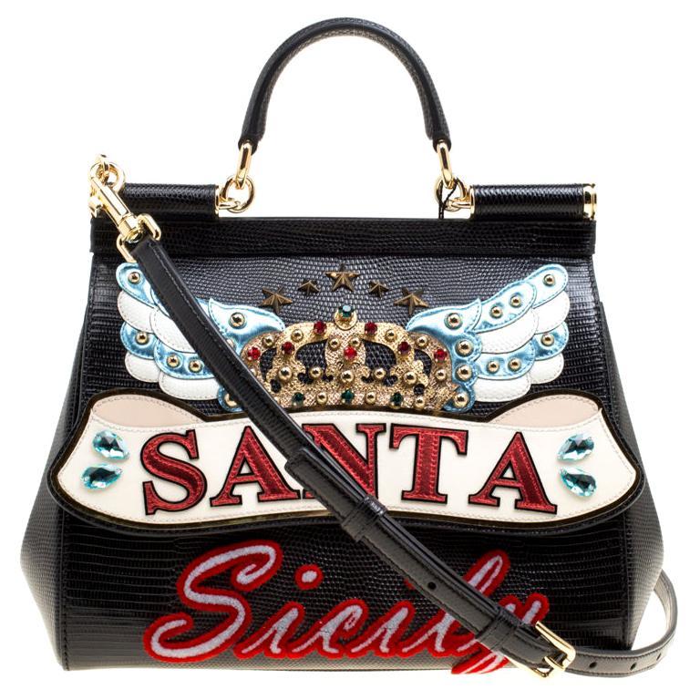 Dolce and Gabbana Black Leather Medium Sicily Santa Top Handle Bag For Sale