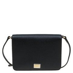 Dolce and Gabbana Black Leather Mini Dauphine Crossbody Bag