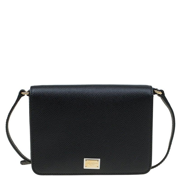 5d51df13cb Dolce and Gabbana Black Leather Mini Dauphine Crossbody Bag For Sale ...