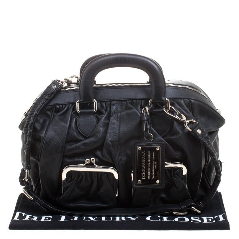 Dolce and Gabbana Black Leather Miss Curly Bag For Sale 9
