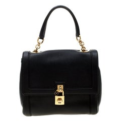 Dolce and Gabbana Black Leather Miss Dolce Top Handle Bag