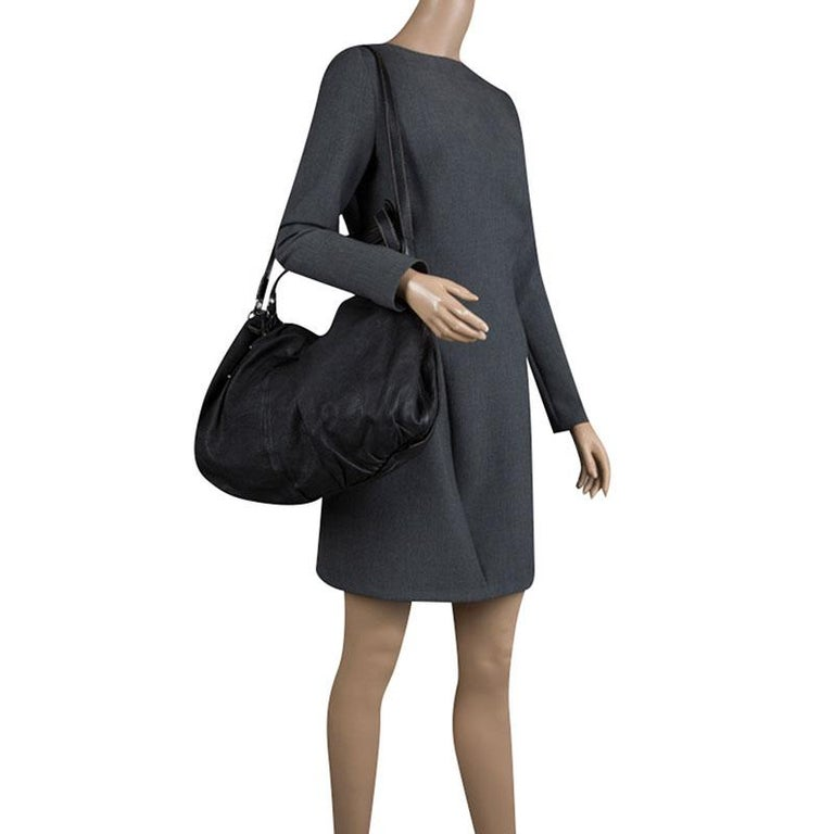 Dolce and Gabbana Black Leather Miss Night and Day Hobo In Good Condition For Sale In Dubai, Al Qouz 2