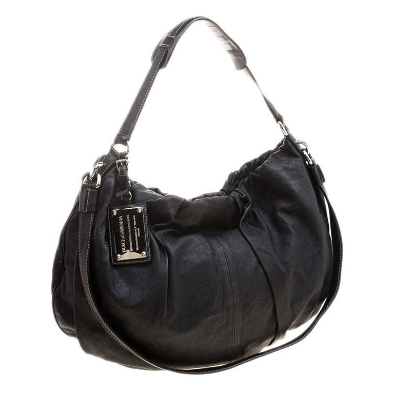 Women's Dolce and Gabbana Black Leather Miss Night and Day Hobo For Sale