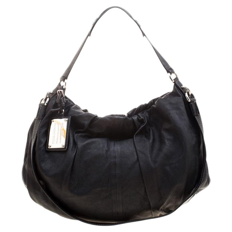 Dolce and Gabbana Black Leather Miss Night and Day Hobo For Sale