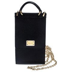 Dolce and Gabbana Black Leather Miss Sicily Phone Holder Crossbody Bag
