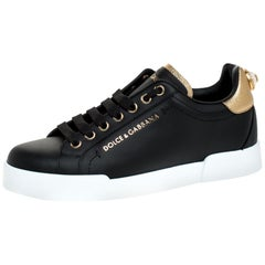 Dolce And Gabbana Black Leather Portofino Pearl Embellished Low Top Sneakers35.5