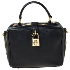 Dolce and Gabbana Black Leather Rosaria Box Top Handle Bag