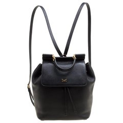 Dolce and Gabbana Black Leather Sicily Backpack