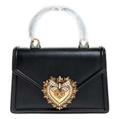Dolce and Gabbana Black Leather Small Devotion Top Handle Bag