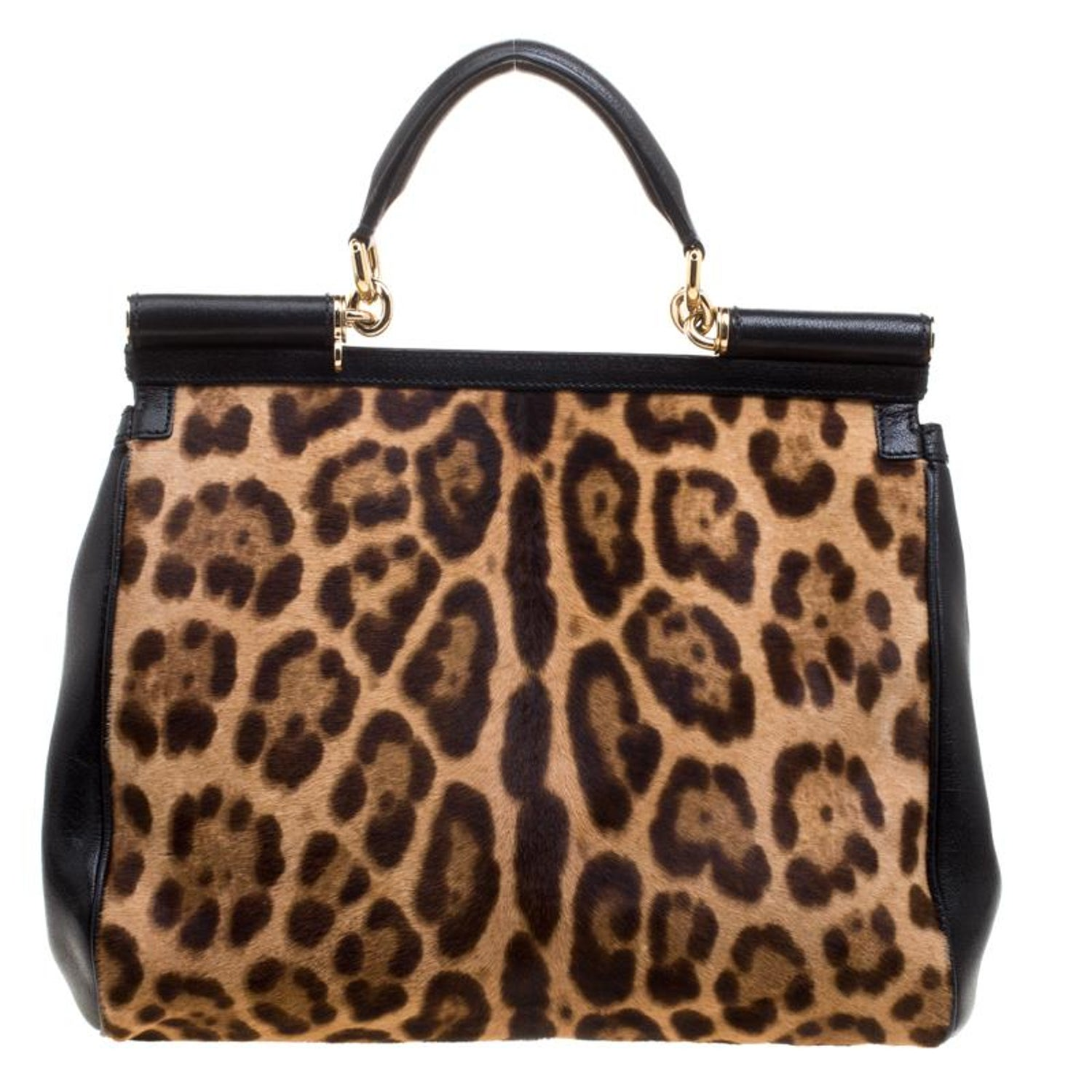 db3e20126c2d Dolce and Gabbana Black Leopard Print Calf Hair and Crochet Miss Sicily  Tote at 1stdibs