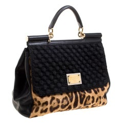 Dolce and Gabbana Black Leopard Print Calf Hair and Crochet Miss Sicily Tote