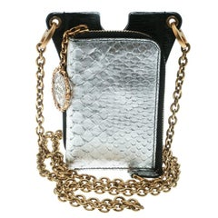 Dolce and Gabbana Black/Metallic Silver Leather Phone Case
