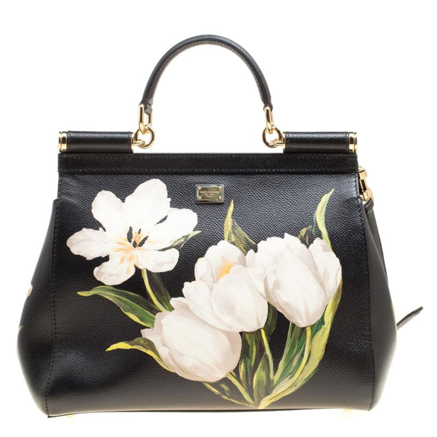 Dolce and Gabbana Black Multicolor Tulip Print Leather Medium Miss Sicily  Top Ha For Sale at 1stdibs 2155dd91d0ade