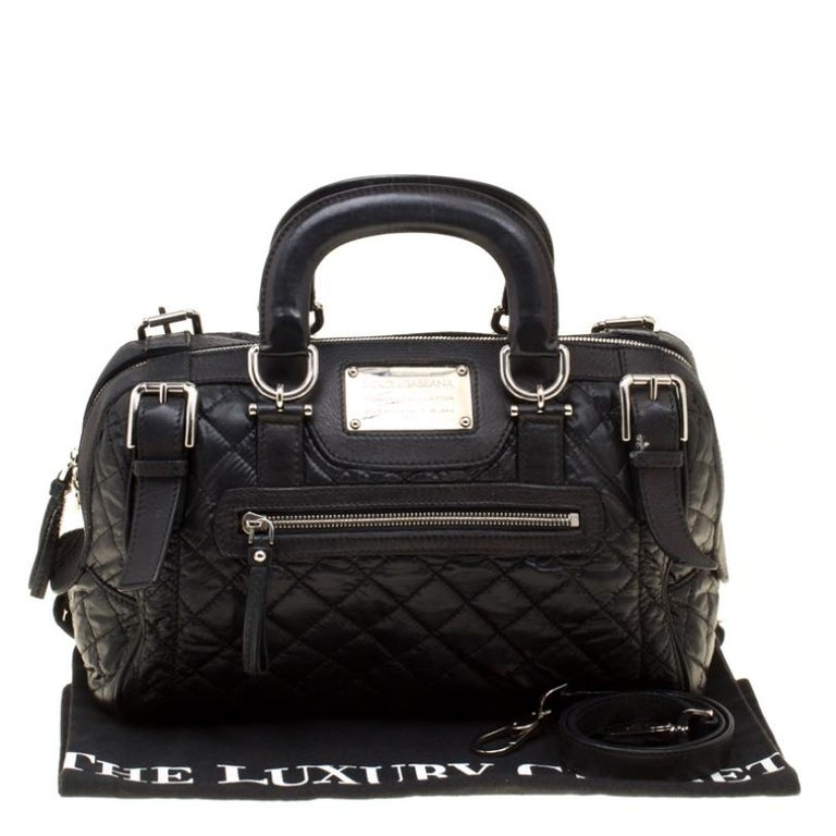 Dolce and Gabbana Black Nylon and Leather Miss Easy Way Top Handle Bag For Sale 7