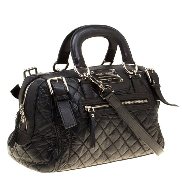 Women's Dolce and Gabbana Black Nylon and Leather Miss Easy Way Top Handle Bag For Sale