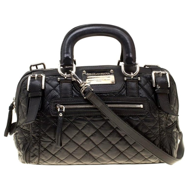 Dolce and Gabbana Black Nylon and Leather Miss Easy Way Top Handle Bag For Sale